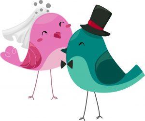 Illustration of Bride and Groom Birds
